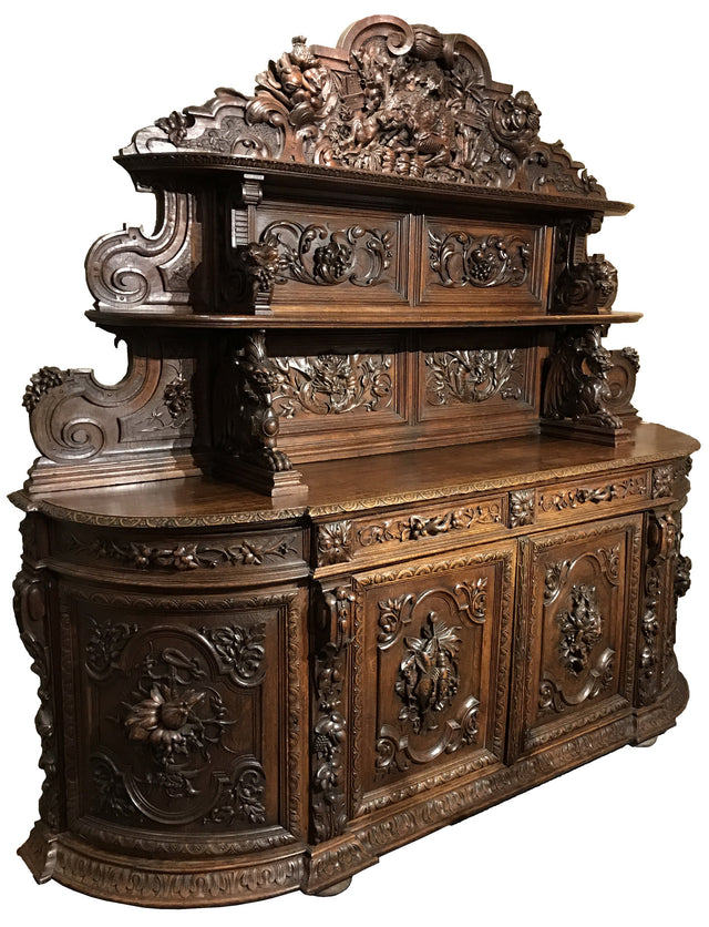 Richly Carved Oak Buffet