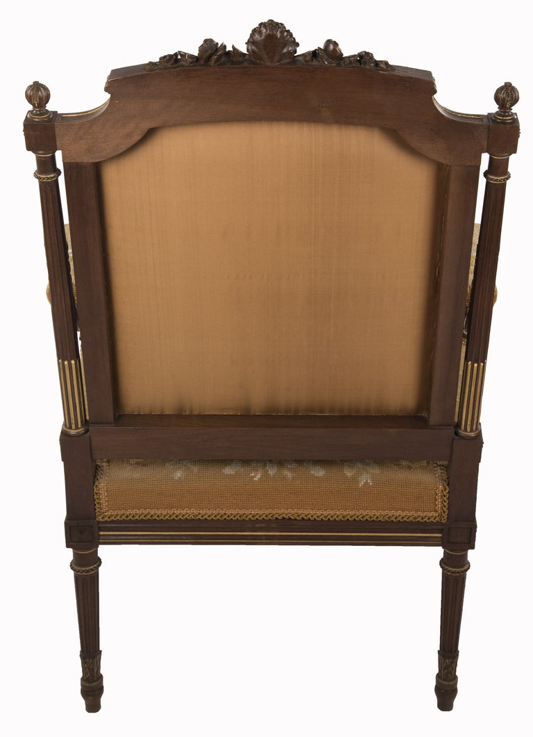 Pair of Louis XVI Walnut and Gilt Needlepoint Upholstered Armchairs