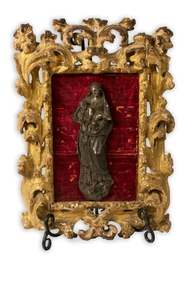 Silvered Bronze Baroque Madonna and Child