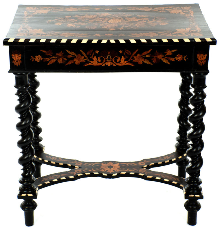19th Century French Mazarin Style Table in Inlaid and Ebonized Wood