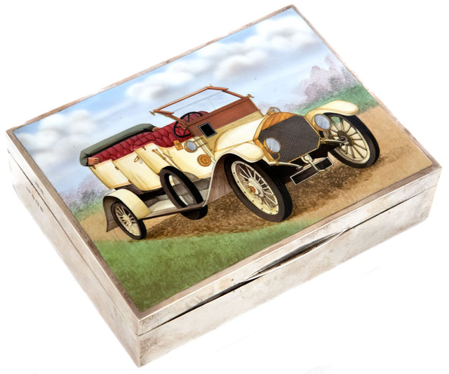 Deakin & Francis Ltd. Enameled Sterling Silver Humidor with Automobile Motif
