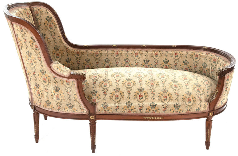 19th-Century French Louis XVI-Style Chaise en bateau in Mahogany with Ormolu Mounts (c. 1880)