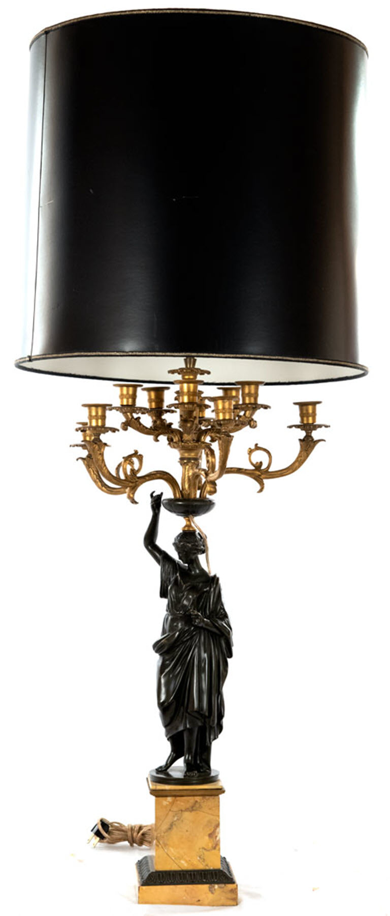 Pair French Bronze and Ormolu Caryatid Candelabra Lamps (c. 1865)