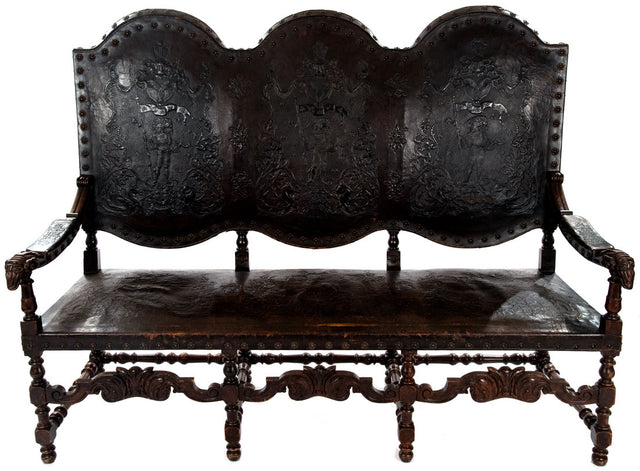 Spanish Carved Walnut and Stamped Leather Bench