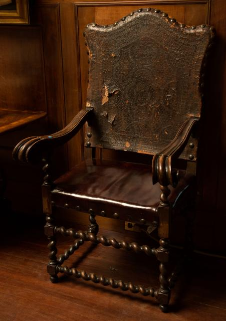 Pair of Monumental 17th Century Spanish Stemped Leather Walnut Armchairs