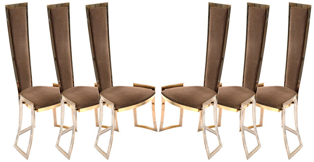 Set of Six High Backed Italian Mid-Century Modern Chairs (c. 1960)