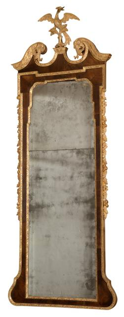 George II Pier Mirror in Parcel Gilt Carved Walnut