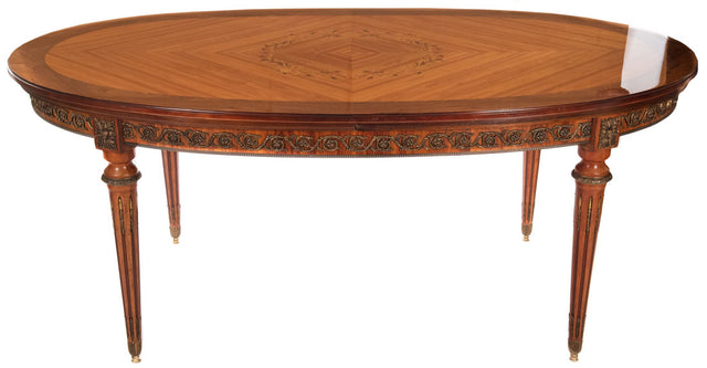 Louis XVI Style Parquetry Dinner Table with Ormolu Mounts (c. 1960)