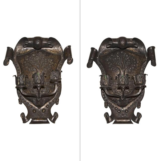 Pair of Chivalric Wrought Iron Wall Lights