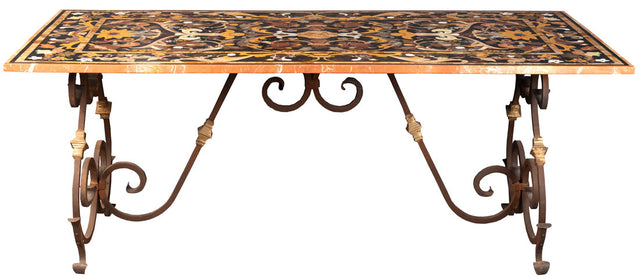Roman-Style Italian Pietra Dura Table with Wrought Iron Base