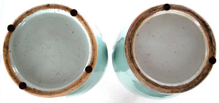 Pair of Qing Dynasty Blue & White Baluster Vases