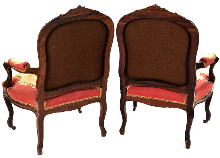 Pair of 19th Century French Aubusson Rose Wood Bergeres