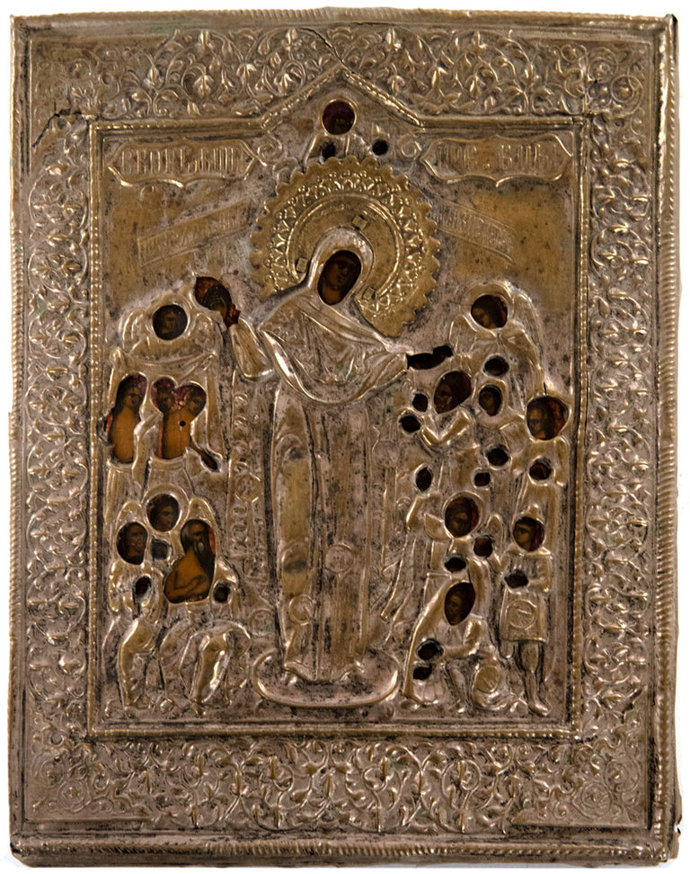 Early 19th Century Russian Clad (Oklad) Religious Icon