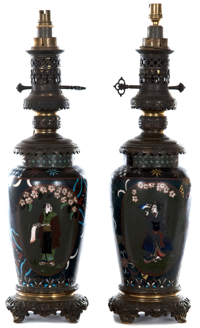 Pair of Meiji Lamped Champlevé Baluster Vases (c. 1885)