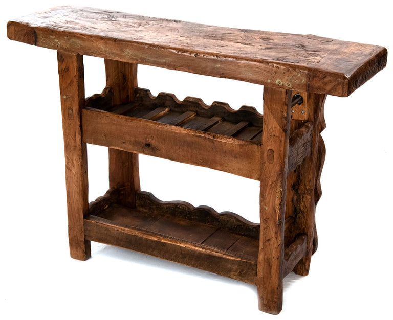 French Walnut Wine Bench with Clamp for Sabering