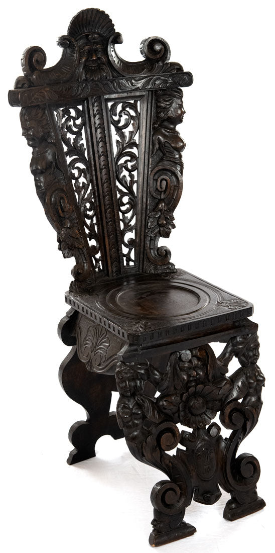Richly Carved 19th-Century Italian Sgabello Chair (c. 1870)