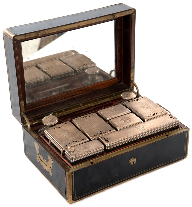French Gentleman's Sterling Vanity Kit in Ebony Case Inlaid with Brass by Louis Aucoc (c. 1865)