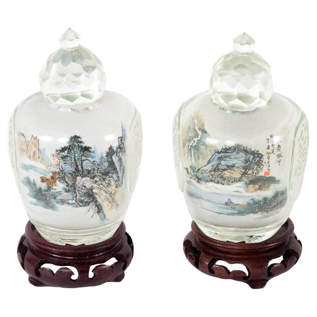 Pair of Reverse Painted Perfume Bottles with Bases