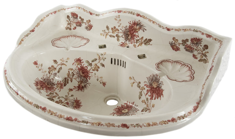 Victorian Porcelain Basin with Transfer Polychromatic Foliate Design