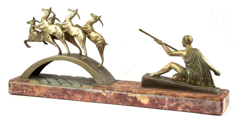 French Art Deco Bronze and Onyx Artemis