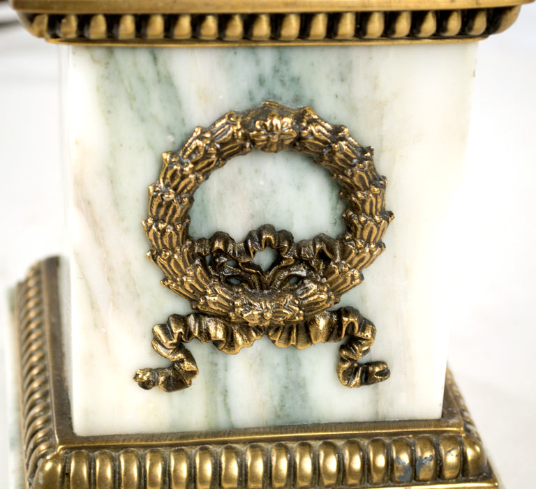 Italian White Marble and Ormolu Table Lamp