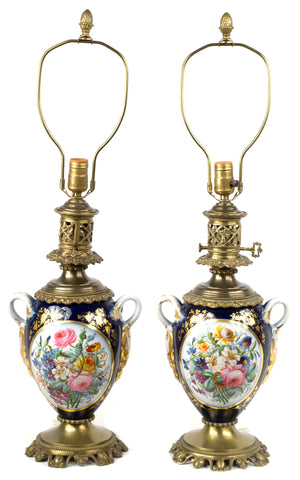 Pair of French Porcelain Lamped Vases with Ormolu Mounts