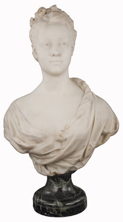 Marble bust of a Young Woman by Louis Julien (Jules) Franceschi