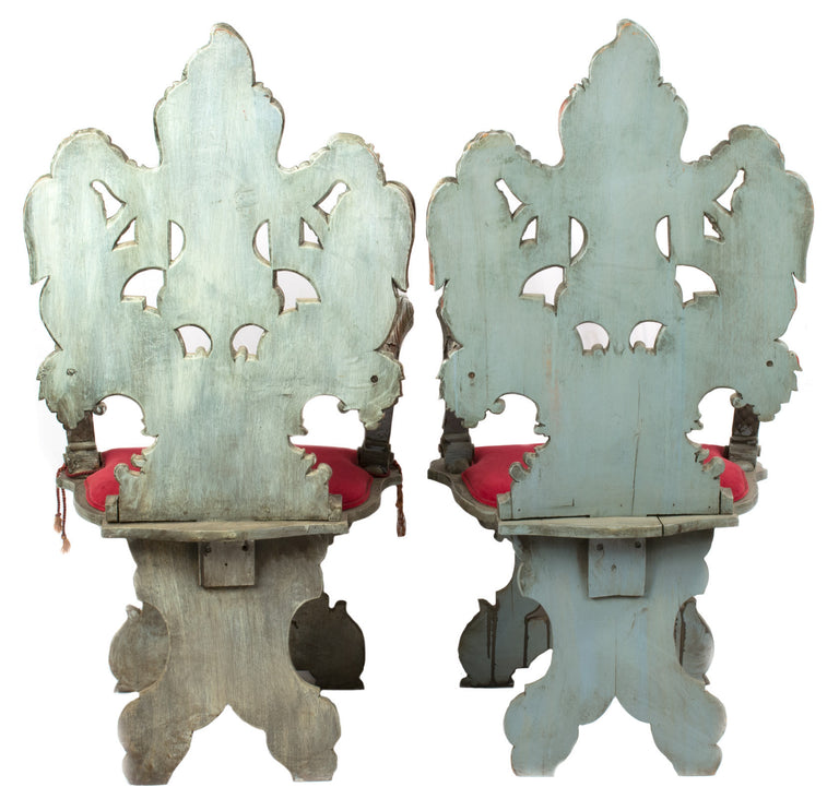 A Pair of Carved Italian Sgabello Armchairs