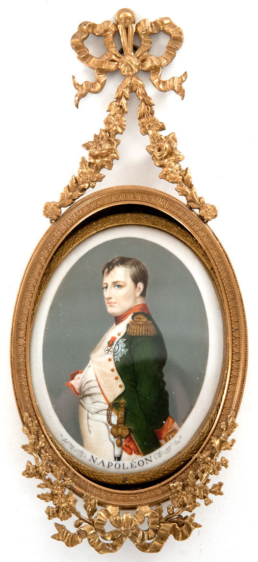 French miniature portrait of Napoleon I after Paul Delaroche in ormolu frame (1860)