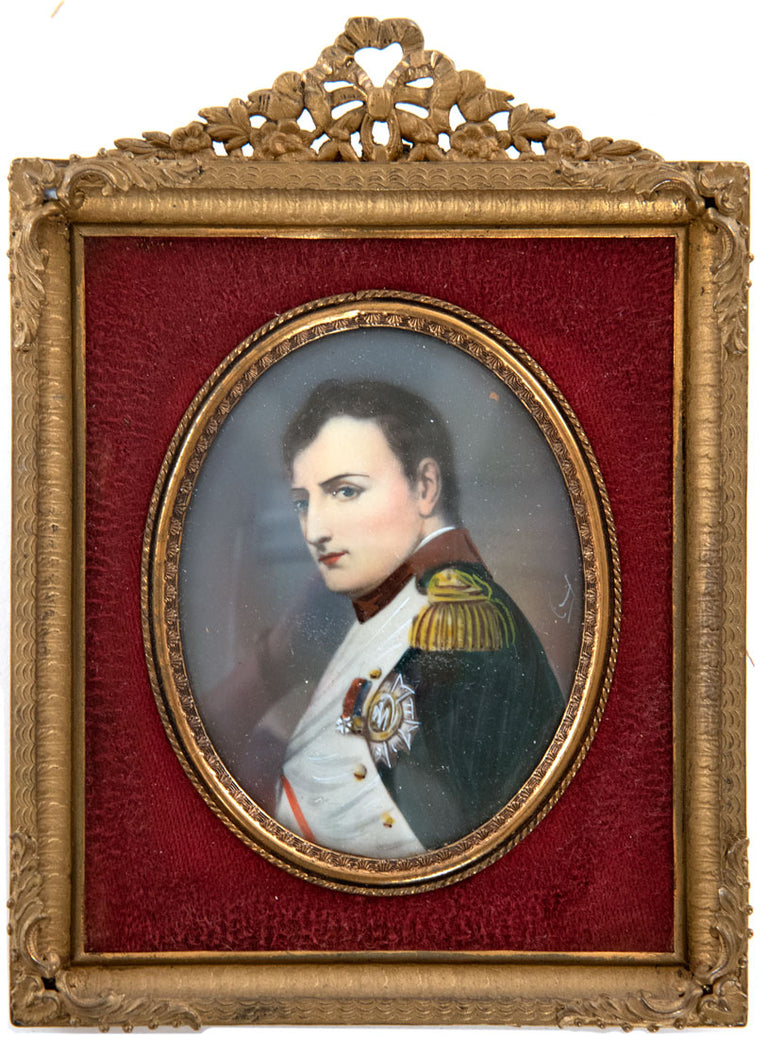 French Miniature of Napoleon I after Delaroche in Period Ormolu Frame