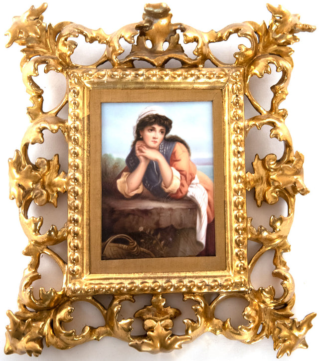 "Fine K.P.M. Porcelain Plaque ""Summer Cloud"" after Thomas Kent Pelham in Elaborately Carved and Gilt Venetian Frame"
