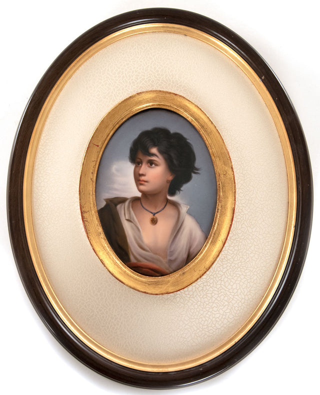 "Fine Framed K.P.M. Porcelain Plaque of ""Neopolitan Boy"" after Paul Richer."