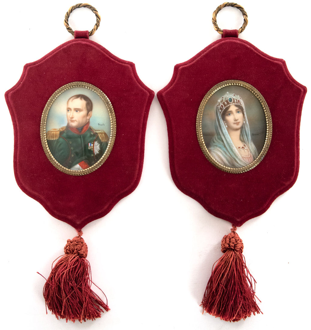 Pair Of Painted Ivory Miniatures Of Napoleon And Josephine