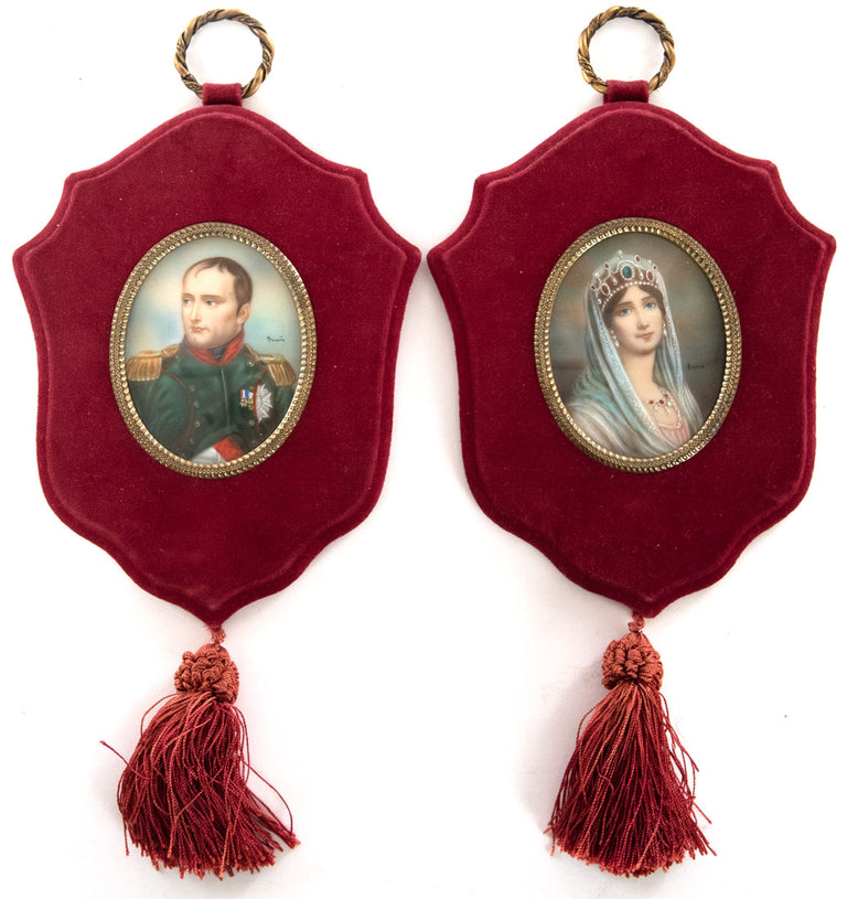 Pair of Painted Ivory Miniatures of Napoleon and Josephine (c. 1860)