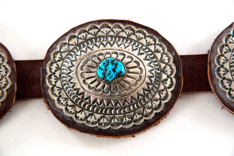 Navajo Silver and Turquoise Concho Belt