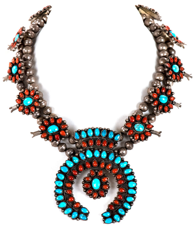 Silver, Turquoise, and Coral Squash Blossom Necklace