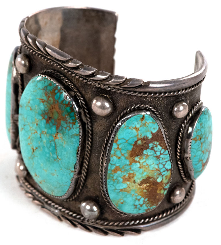 Jimmy Yazzie Navajo Easter Blue Turquoise and Silver Arm Five Stone Bracelet