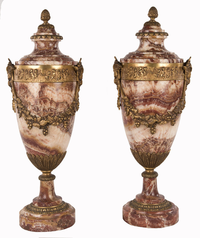 A Pair of Louis XVI Style Red Breche Marble and Ormolu Urns