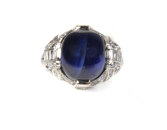 18 karat white gold, blue star sapphire and diamond ring