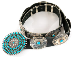 A Navajo Turquoise Concha Belt
