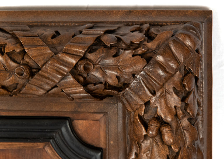 Large Full-Relief Carved Black Forest Walnut Plaques