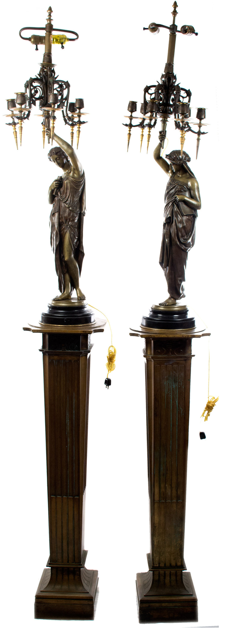 A Pair of Monumental Bronze Candelabra Sculptures on Stands by Émile Picault