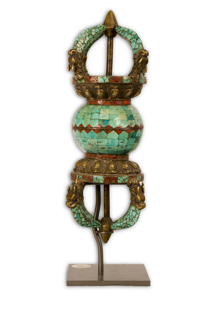 Tibetan Double Vajra in Gilt Bronze and Turquoise