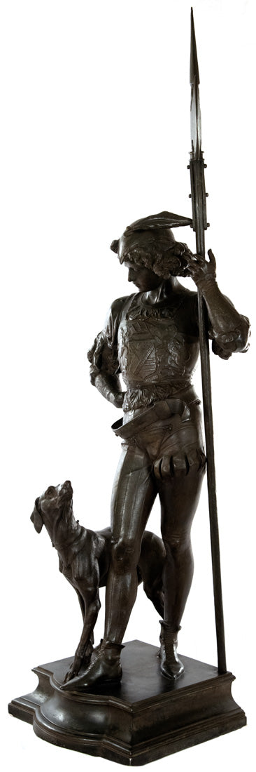 Large Bronze Group of a Renaissance Guard and Dog (c. 1870)