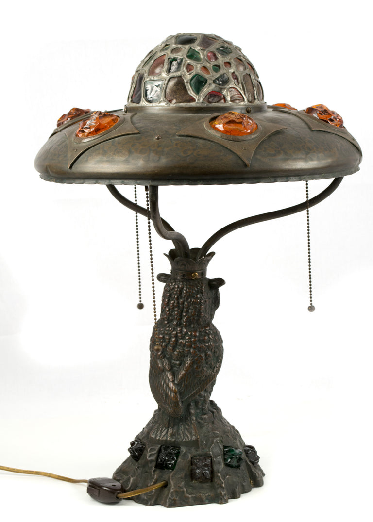 Sculpted Bronze Owl Table Lamp with Cut Glass