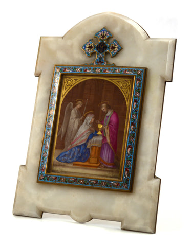 Enamelled and Champlevé Painting of Virgin Mary and Angel in Onyx Frame