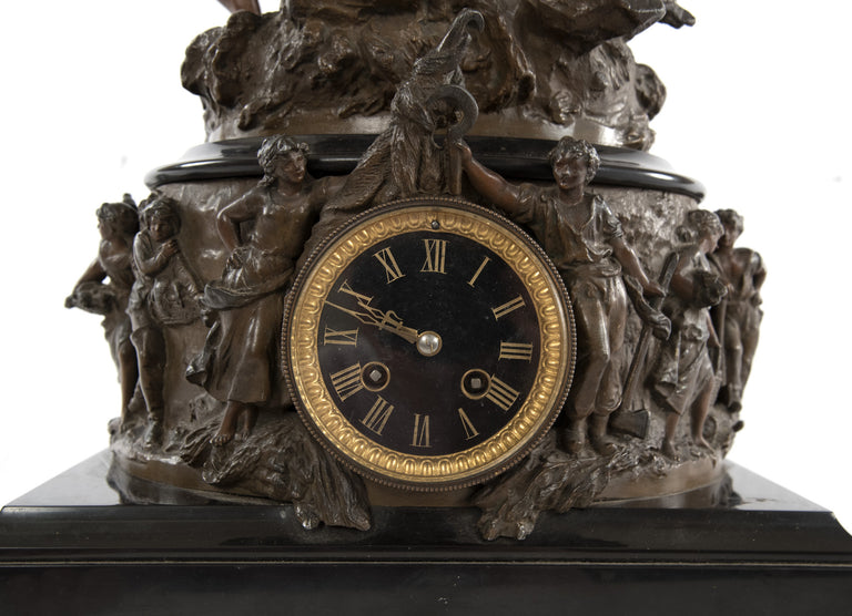 French Figurative Mantel Clock by Hippolyte Moreau