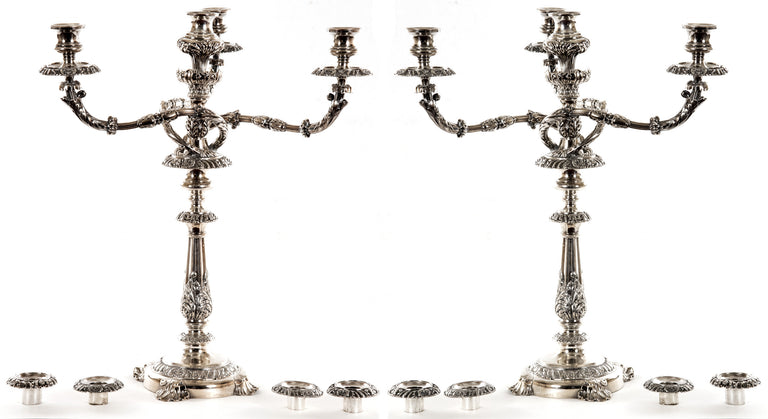 Pair of Silver-plated Four-light Candelabra