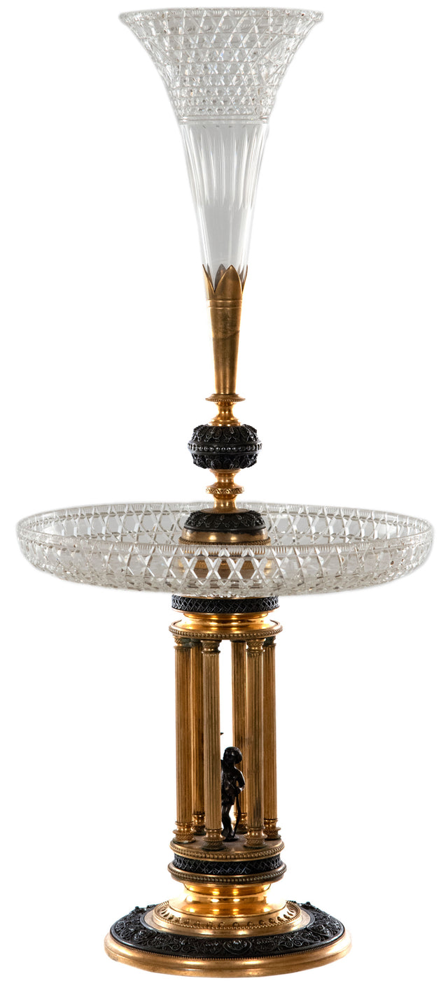 Baccarat Continental Gilt Bronze and Crystal Epergne