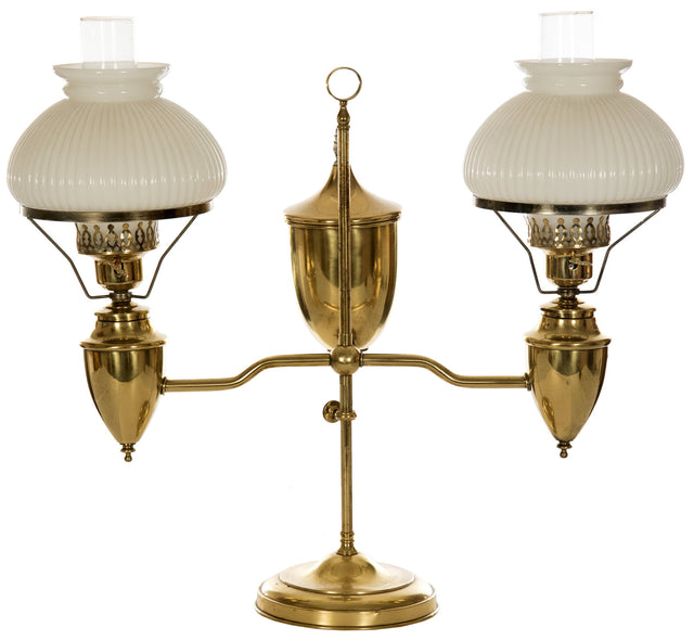 19th Century White Ribbed Case Glass Double Student Lamp